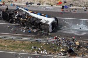 Havarovaný český autobus v Chorvátsku
