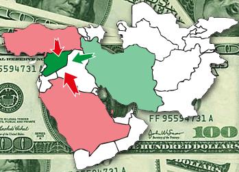 Blízky východ - štáty podporujúce rebelov (červenou) a sýrsku vládu