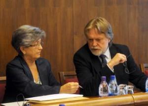 Dušan Jarjabek a Eva Discantiny, predseda a tajomníčka Výboru NR SR pre kultúru a médiá