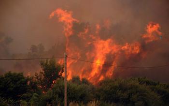 Lesný požiar pri meste Patras