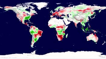 Pod vplyvom sucha a tepla sa mení aj úžitkovosť rastlín. Červená farba znázorňuje pokles, zelená prírastok produkcie.