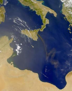 Pohľad na Sicíliu z orbity Zeme