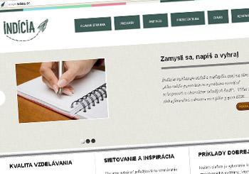 Pohľad na web neziskovej organizácie Indícia