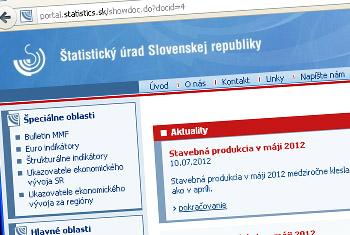 Webstránka Štatistického úradu SR
