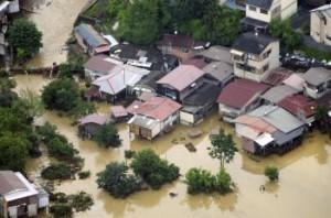 Zaplavená obytná zóna v západojaponskom Kjótó