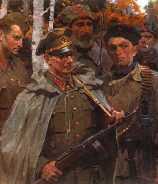 Kapitán Ján Nálepka so svojím prvým odbojovým oddielom na Repinovom obraze