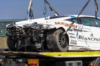 Kvôli havárii Lamborgini Gallardo bol kvalifikačný pretek Slovakia Ring prerušený na tridsať minút