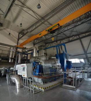 Turbína na výrobu elektrickej energie v prvej slovenskej energokompostovni