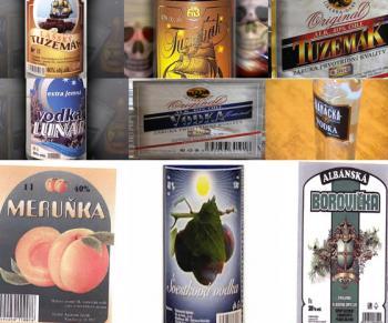 Etikety alkoholových produktov, u ktorých sa potvrdil metanol