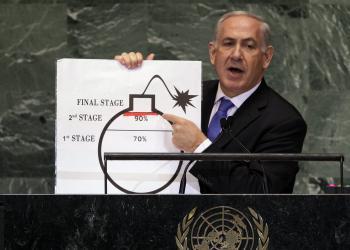 Izraelský premiér Benjamin Netanjahu počas prejavu na zasadnutí Valného zhromaždenia OSN