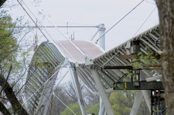 Práce na cyklomoste medzi Slovenskom a Rakúskom v apríli 2012