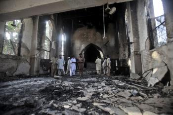 Ruiny kresťanského kostola v pakistanskom Mardane, ktoré zničili islamisti ako pomstu za znevažujúci film o Mohammedovi