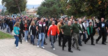 Pochod prívržencov Ľudovej strany Naše Slovensko v Krásnohorskom Podhradí