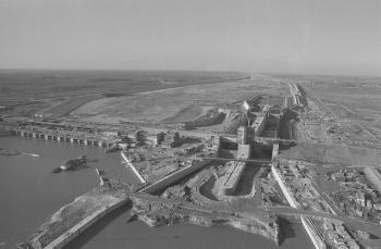 Letecká snímka zo stavby z roku 1990