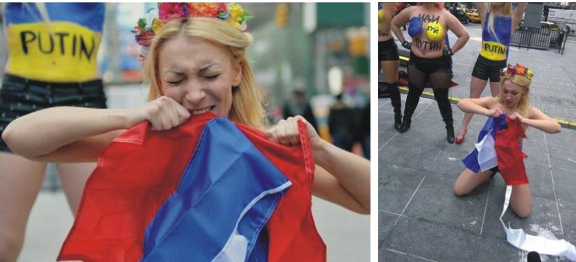 Inna Ševčenková trhá ruskú vlajku