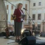 Europoslankyňa Anna Záborská vystupuje na pro life zhromaždení v Banskej Bystrici