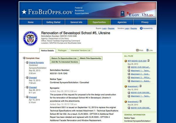 Výberove konanie na prestavbu školy číslo 5 v meste Sevastopoľ vyhlásené námorníctvom USA na oficiálnej stránke tendrov námorníctva.
