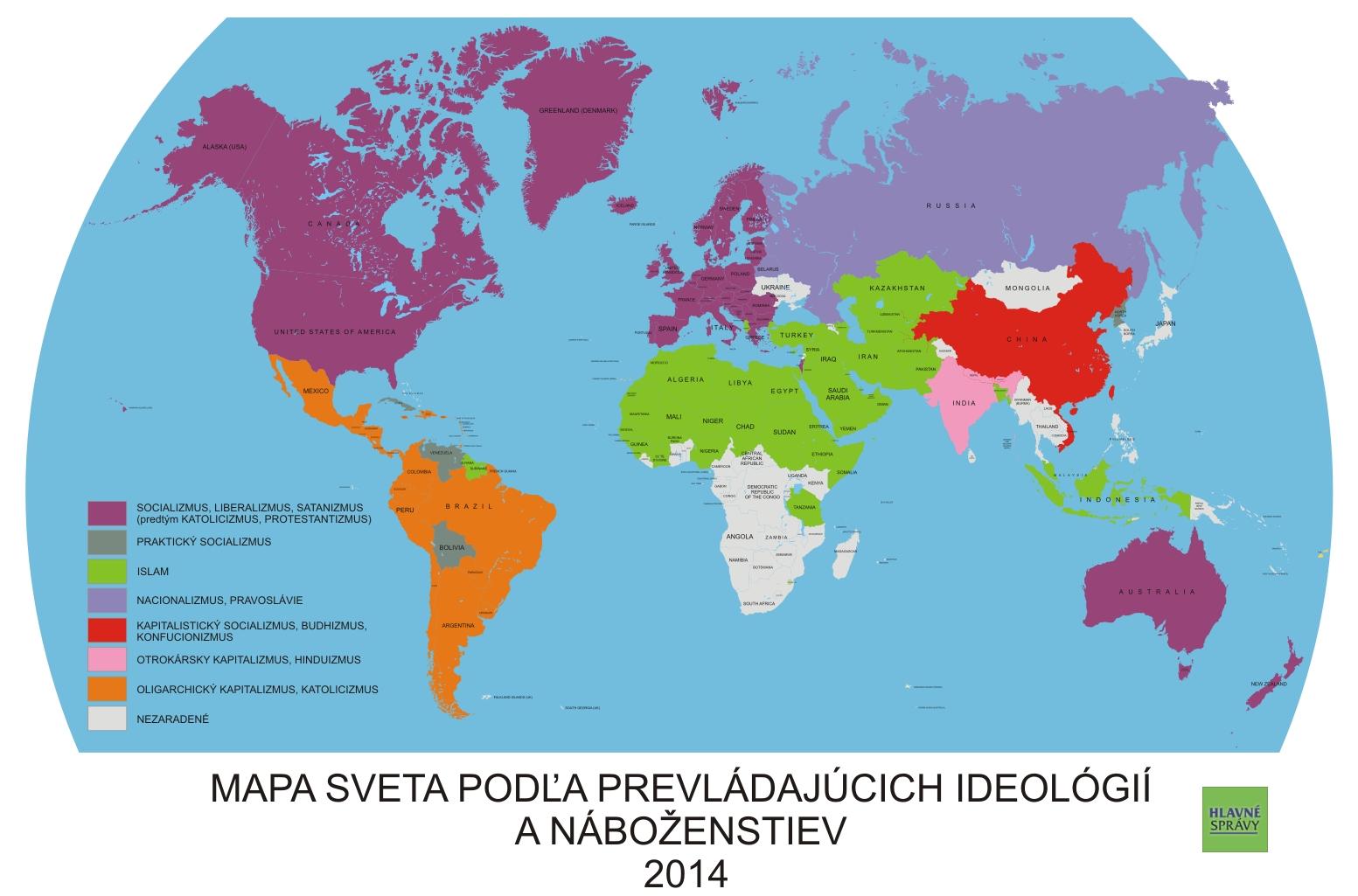 Rozdelenie Sveta Podľa Prevladajucich Nabozenstiev A Ideologii