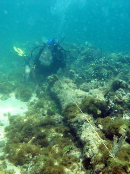 Na archívnej snímke z mája 2003 potápač na mieste, kde podľa archeológa Barryho Clifforda sa nachádza vrak potopenej lode Santa María