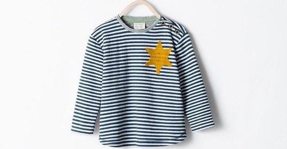 496b78950f Na snímke detské tričko značky Zara pripomínajúce uniformu v koncnetračnom  tábore Osvienčim