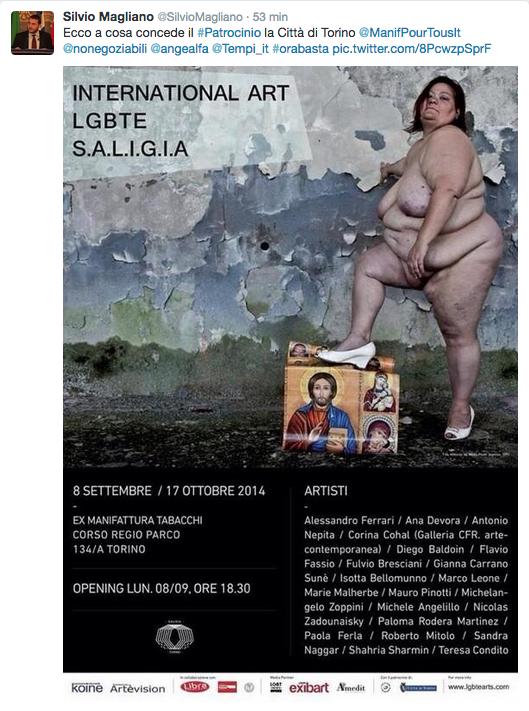 Reklamné pútače, ktoré zaplavili mesto Turín, aby informovali o nadchádzajúcej výstave medzinárodného umenia LGBTI.