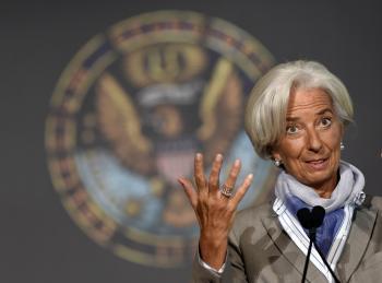 Na snímke šéfka Medzinárodného menového fondu Christine Lagardeová