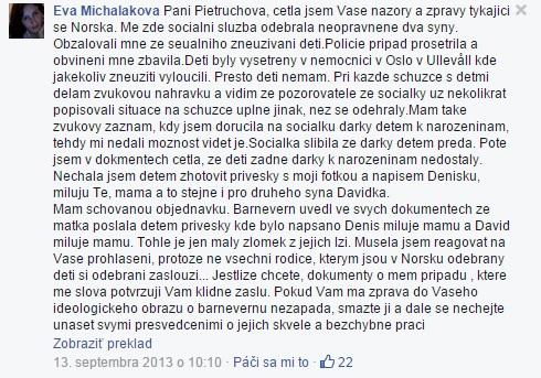 Vyjadrenie Evy Michalákovej