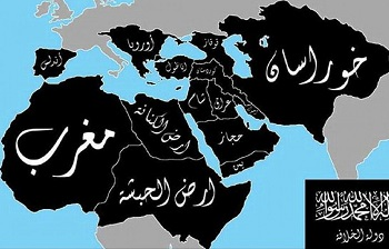 Mapa plánovaného kalifátu