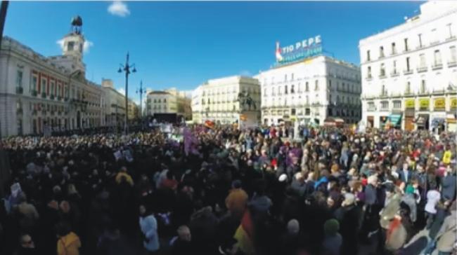 Demonštrácia na podporu strany PODEMOS v Madride