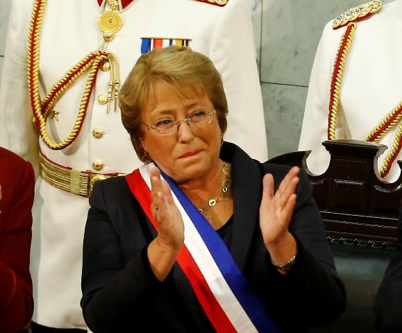 Na snímke čilská prezidentka Michelle Bacheletová