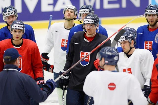 Snímka z tréningu pred zápasom základnej B-skupiny USA - Slovensko