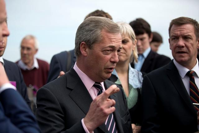 Na snímke vodca euroskeptickej Strany nezávislosti Spojeného kráľovstva (UKIP) Nigel Farage