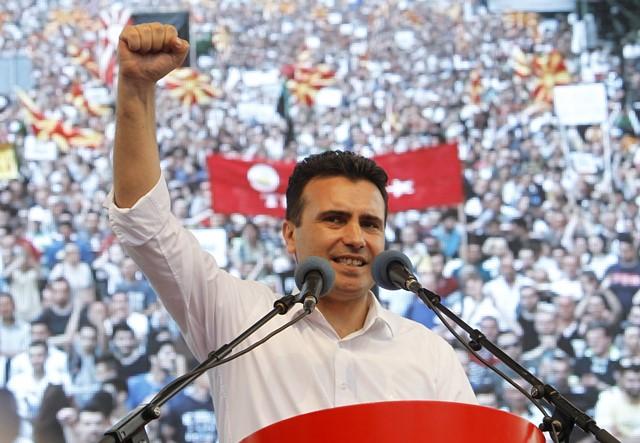 Na snímke opozičný sociálnodemokratický líder Zoran Zaev