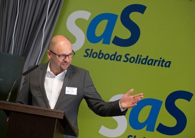 Na snímke predseda politickej strany Sloboda a solidarita (SaS) Richard Sulík
