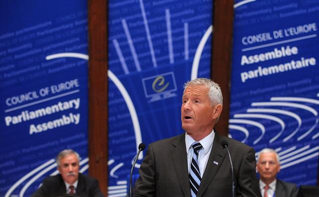 Na snímke generálny tajomník Rady Európy Thorbjorn Jagland