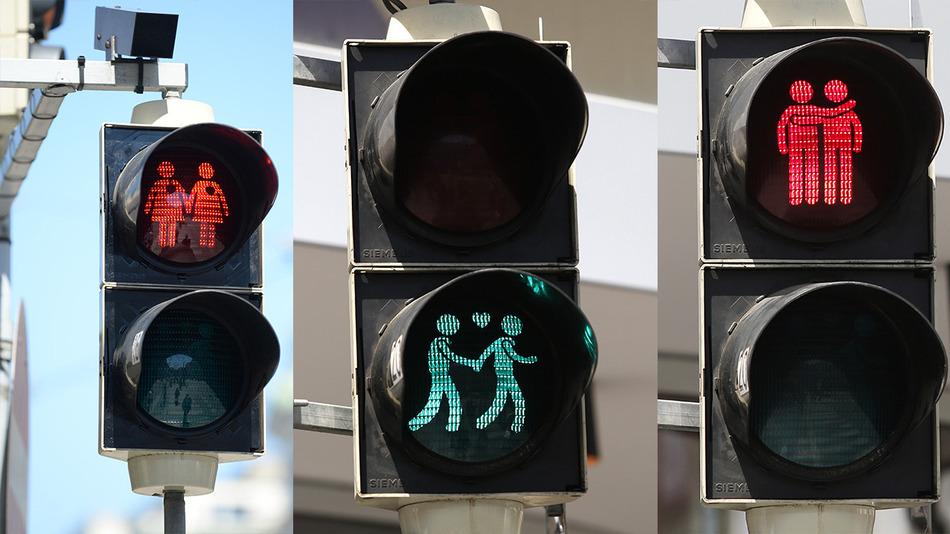 Nový dizajn svetelných signalizácií vo Viedni pri príležitosti blížiacich sa podujatí na podporu LGBTI