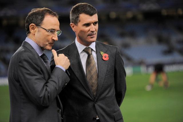 Na snímke tréner írskej futbalovej reprezentácie Martin O'Neill (vľavo)