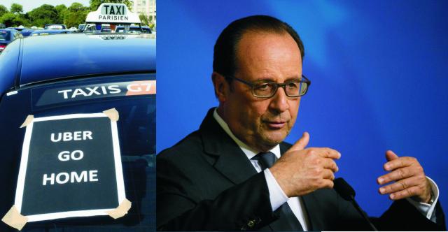 Francúzska vláda i prezident Francois Hollande (na snímke) v noci nadnes vyjadrili pochopenie pre protest francúzskych taxikárov kvôli lacnejšej alternatívnej taxislužbe Uber. Vedenie krajiny však súčasne upozornilo, že násilie sprevádzajúce protest taxikárov je neprijateľné