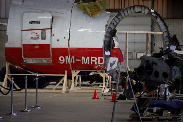 Na snímke väčší kus trosiek lietadla Boeing 777 letu MH 17 Malazijskych Aerolínii