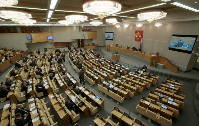 Na snímke pohľad na zasadanie dolnej komory ruského parlamentu