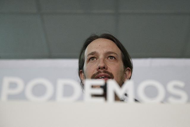 Na snímkeíder španielskeho ľavicového hnutia Podemos Pablo Iglesias
