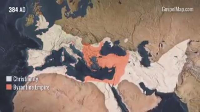 Video graficky znázorňuje šírenie kresťanstva v čase