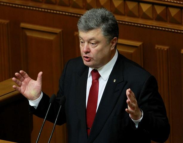 Na snímke ukrajinský prezident Petro Porošenko počas prejavu v ukrajinskom parlamente