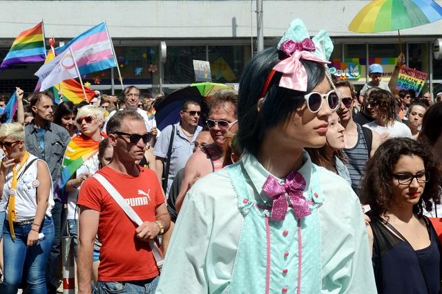 Na snímke pohľad na účastníkov pochodu v Bratislave