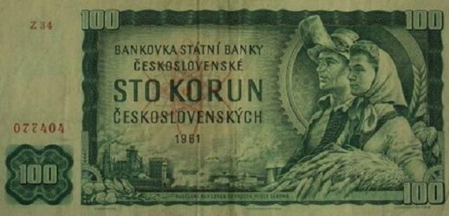 Československá stokorunová bankovka z roku 1961