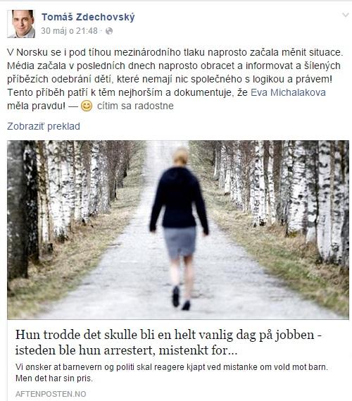 Vyjadrenie europoslanca Tomáša Zdechovského