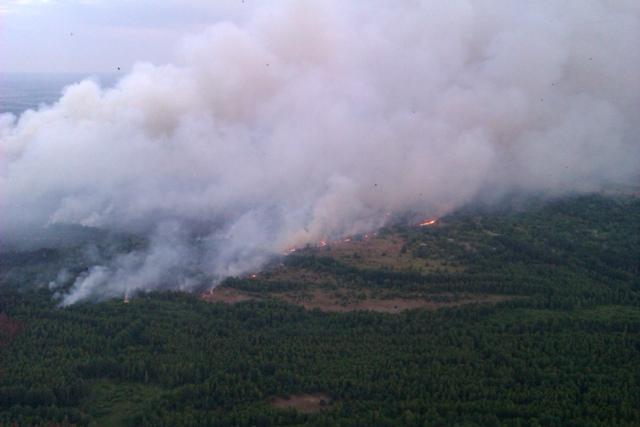 Neďaleko odstavenej jadrovej elektrárne Černobyľ horí od pondelka 29. júna 2015 viac ako 100 hektárov suchej trávy