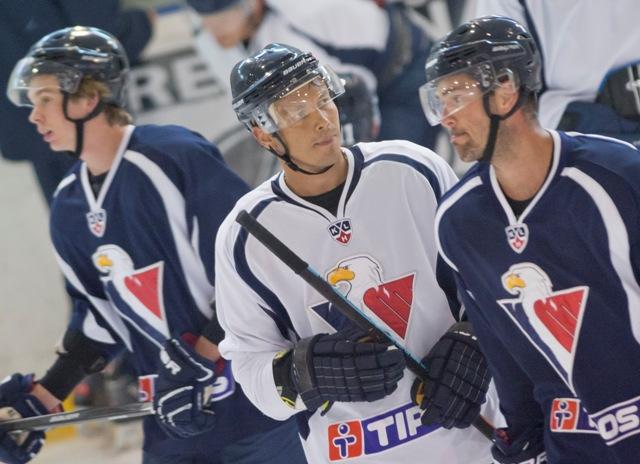 Na snímke zľava Žiga Jeglič, Ladislav Nagy a Peter Ölvecký počas tréningu