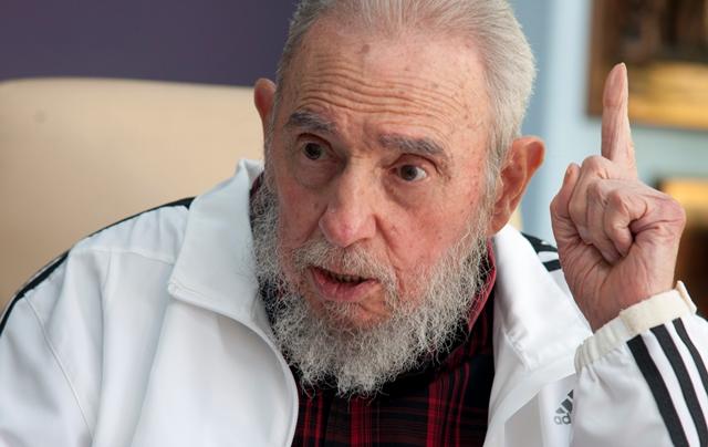 Na snímke kubánsky vodca Fidel Castro