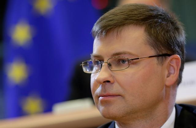 Na snímke podpredseda Európskej komisie (EK) pre euro Valdis Dombrovskis